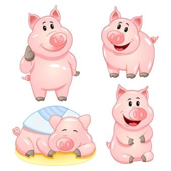 Simpatici personaggi dei cartoni animati di maiale in varie pose. set di illustrazione.