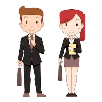 Simpatici personaggi dei cartoni animati di uomo e donna d'affari.