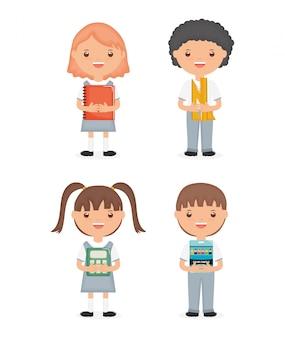 Simpatici personaggi del gruppo di studenti piccoli