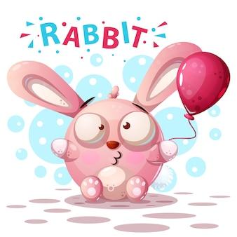 Simpatici personaggi di coniglio - illustrazione di cartone animato.