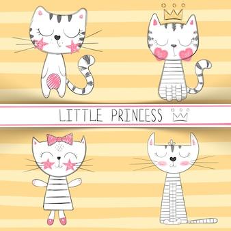 Simpatici personaggi di gatto principessa