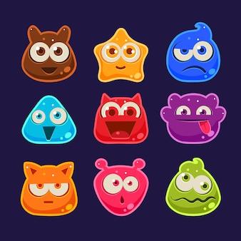 Simpatici personaggi di gelatina con diverse emozioni