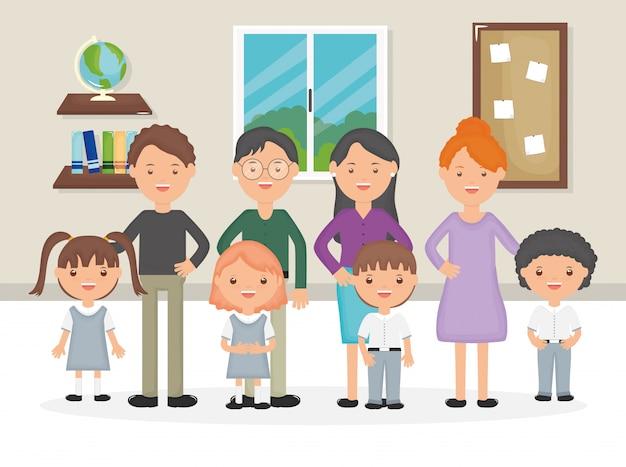 Simpatici personaggi di gruppo e insegnanti di piccoli studenti