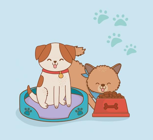 Simpatici personaggi di mascotte di piccoli cani