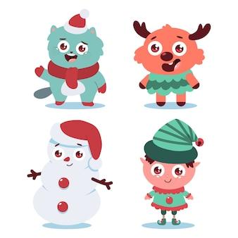 Simpatici personaggi di natale gatto, renne, pupazzo di neve ed elfo impostato su sfondo bianco.