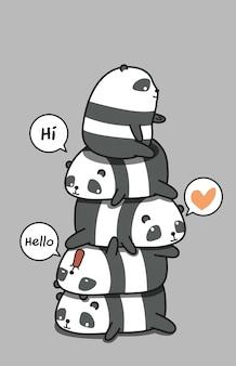 Simpatici personaggi di panda.