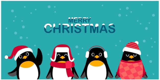 Simpatici personaggi di pinguini che indossano abiti da tempo freddo per la cartolina di natale