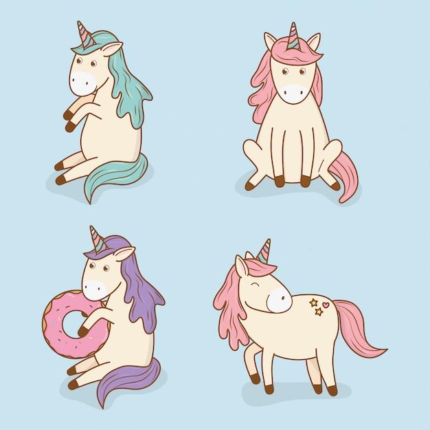 Simpatici personaggi di unicorni da favola