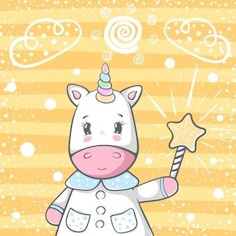 Simpatici personaggi di unicorno trik magico.