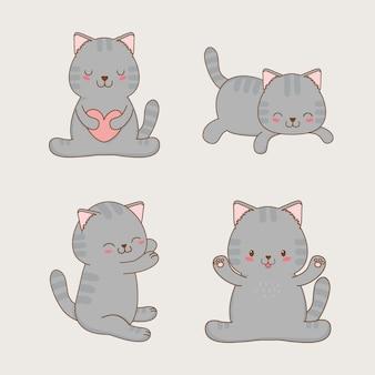 Simpatici personaggi kawaii di piccoli gatti