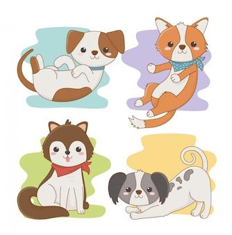 Simpatici personaggi mascotte di cani di piccola taglia