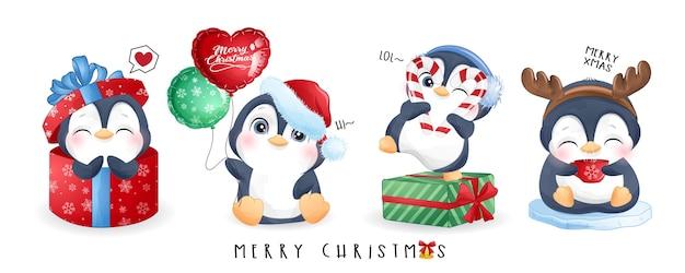 Simpatici pinguini fissati per il giorno di natale con la bandiera dell'acquerello