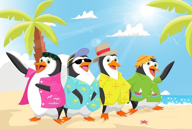 Simpatici pinguini in estate sulla spiaggia