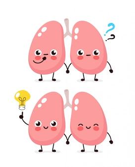 Simpatici polmoni con punto interrogativo e carattere lampadina. icona illustrazione piatto personaggio dei cartoni animati. isolato su bianco i polmoni hanno idea