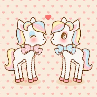 Simpatici pony kawaii innamorati del modello senza cuciture