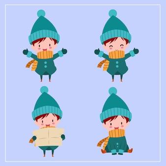 Simpatici ragazzi disegnati a mano kawaii che indossano il costume invernale con la faccia sorridente e divertente in diverse pose