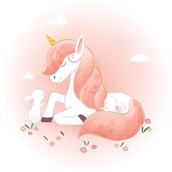 Simpatici unicorni e i suoi amici