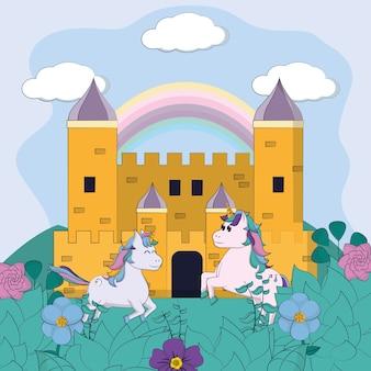 Simpatici unicorni nei cartoni magici del castello