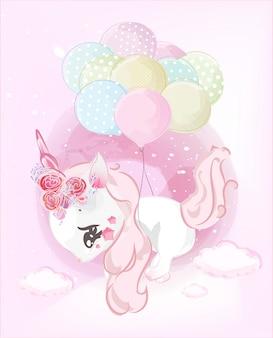 Simpatici unicorni stanno godendo di grandi palloncini galleggianti nel cielo.