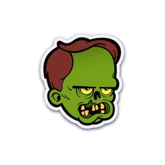 Simpatico adesivo testa zombie con mezzitoni tratteggiati
