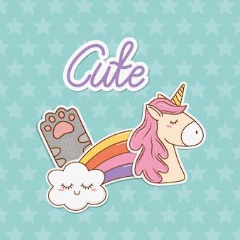 Simpatico adesivo unicorno in stile kawaii
