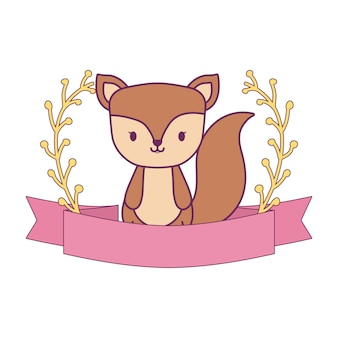 Simpatico animale scoiattolo con decorazione a nastro e rami