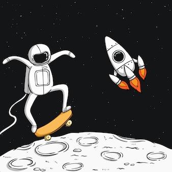 Simpatico astronauta gioca a skateboard sulla luna con un razzo spaziale