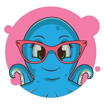 Simpatico avatar di polpo blu