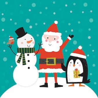 Simpatico babbo natale, pupazzo di neve e pinguino