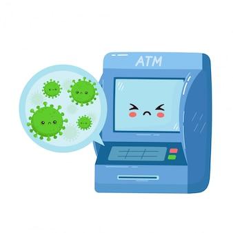 Simpatico bancomat con virus sui pulsanti. personaggio dei cartoni animati piatto illustration.isolated