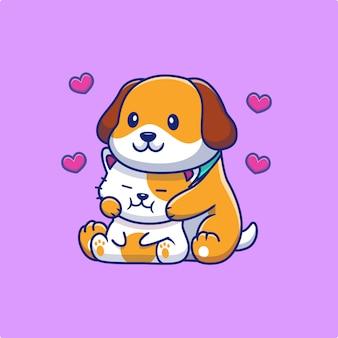Simpatico cane che abbraccia il gatto