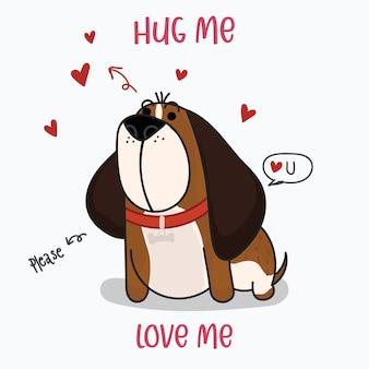 Simpatico cane san bernardo con cuori rossi. stampa stile disegnato a mano. illustrazione vettoriale