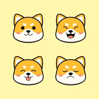 Simpatico cane shiba inu con set di animali di espressione
