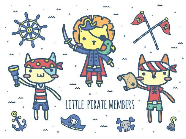 Simpatico capitano pirata e membri - personaggi animali