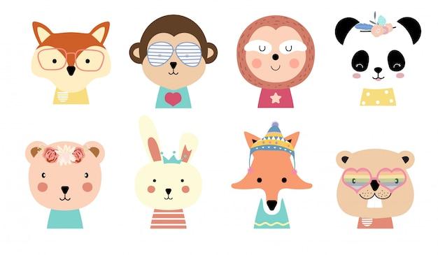 Simpatico cartone animato animale bambino con volpe, scimmia, bradipo, panda, coniglio, scoiattolo