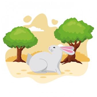 Simpatico cartone animato animale da compagnia coniglio