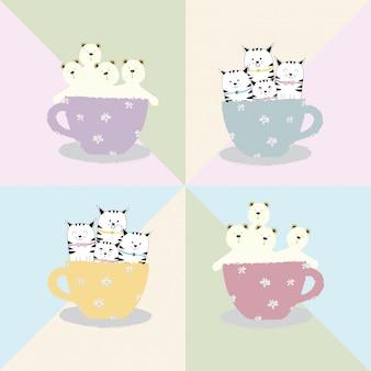 Simpatico cartone animato animale gatto e orso in tazza di caffè
