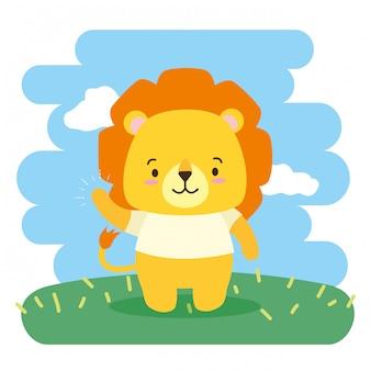 Simpatico cartone animato animale, illustrazione