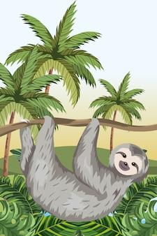 Simpatico cartone animato bradipo