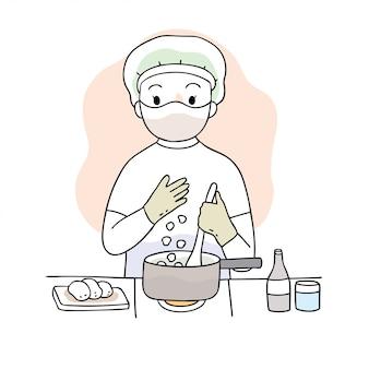 Simpatico cartone animato coronavirus, covid-19, donna che cucina cibo