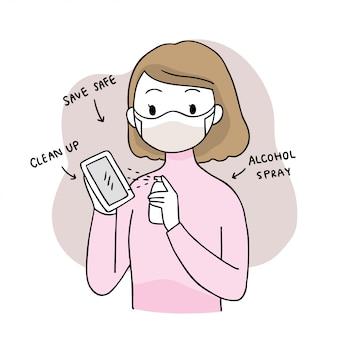 Simpatico cartone animato coronavirus, covid-19, lavaggio spray donna e alcool mobile