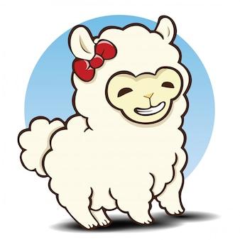 Simpatico cartone animato di alpaca., cartone animato animale.