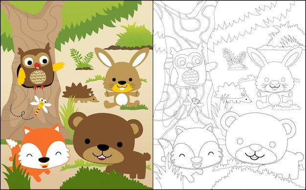 Simpatico cartone animato di animali del bosco