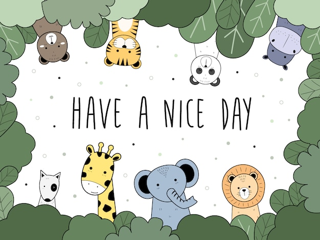 Simpatico cartone animato di animali selvatici doodle saluto sfondo, orso, tigre, panda, ippopotamo, cane, giraffa, elefante, leone