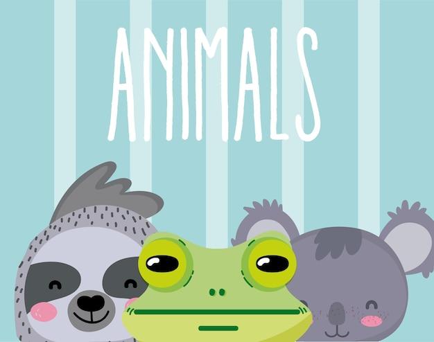 Simpatico cartone animato di animali su sfondo colorato