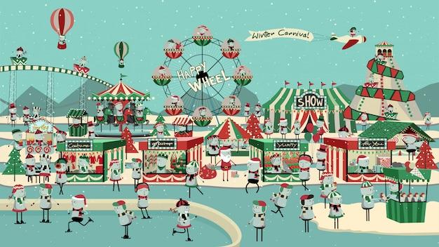 Simpatico cartone animato di carnevale invernale.