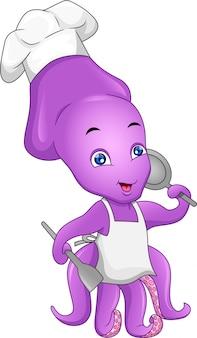 Simpatico cartone animato di chef di polpo