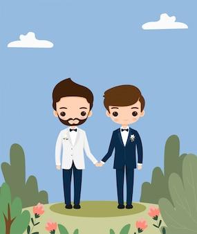 Simpatico cartone animato di coppia lgbt per modello di carta di invito di nozze