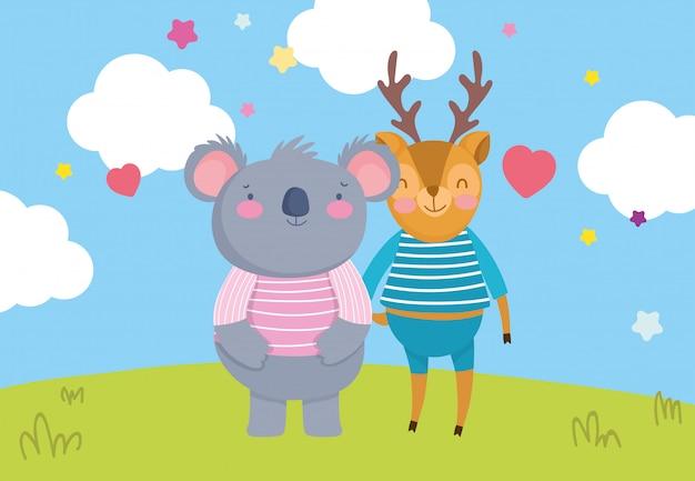 Simpatico cartone animato di cuori di piccoli cervi e koala erba