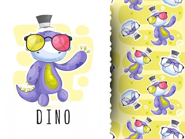 Simpatico cartone animato di dinosauro su disegno a strisce, t-shirt per bambini